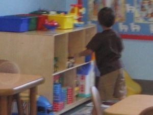 The only picture I have of him in his classroom, he ran right in and never looked back.
